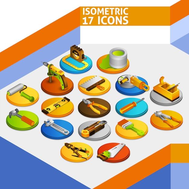 Outils Icônes Isométriques Vecteur Premium