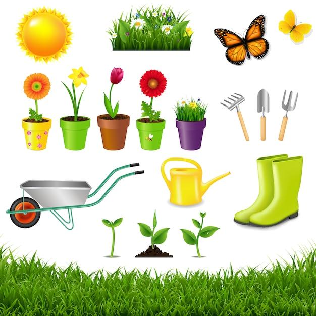Outils de jardinage isolés Vecteur Premium