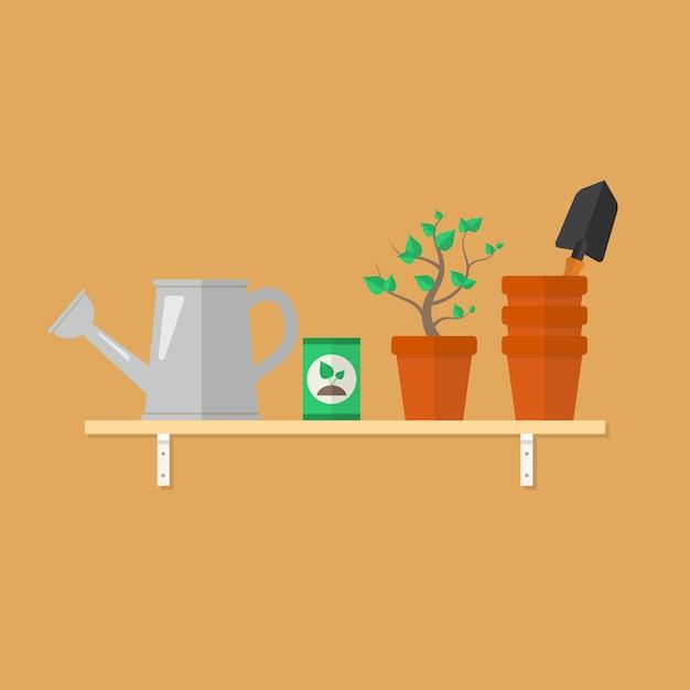 Outils de jardinage et produits sur une étagère en bois Vecteur Premium