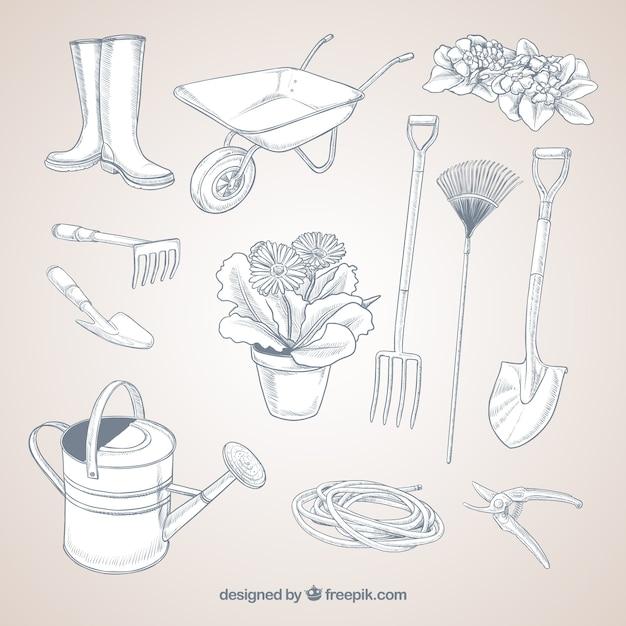 Outils de jardinage sketchy Vecteur gratuit