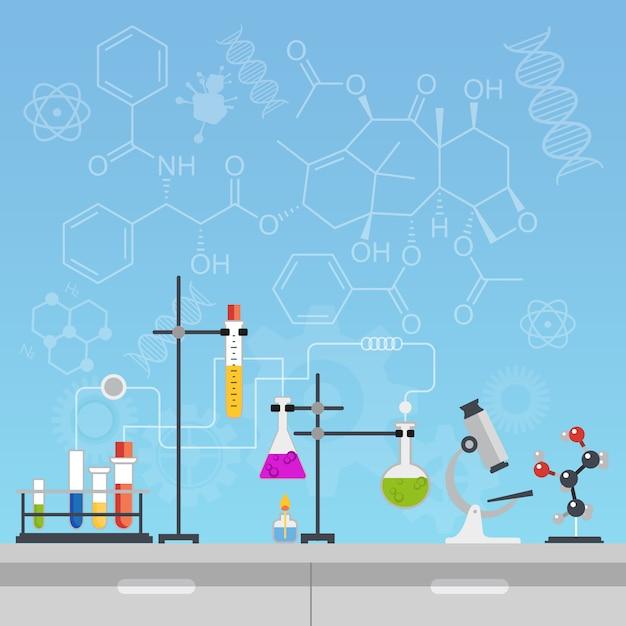 Outils de laboratoire de chimie Vecteur Premium