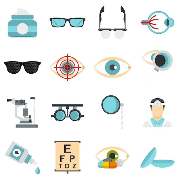 Outils ophtalmologiques définir des icônes plats Vecteur Premium