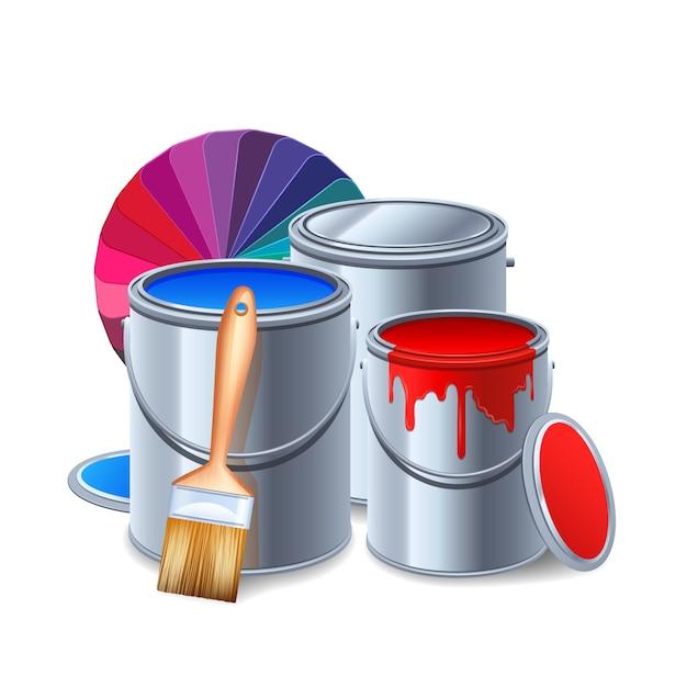 Outils De Peinture Et équipement Composition Réaliste Avec Des Pots