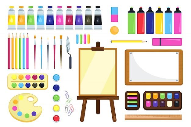 Outils De Peinture. Matériaux Créatifs Pour L'atelier Vecteur Premium