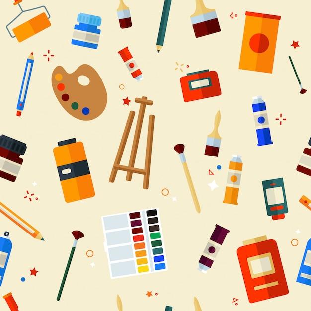 Outils peinture seamless pattern Vecteur Premium