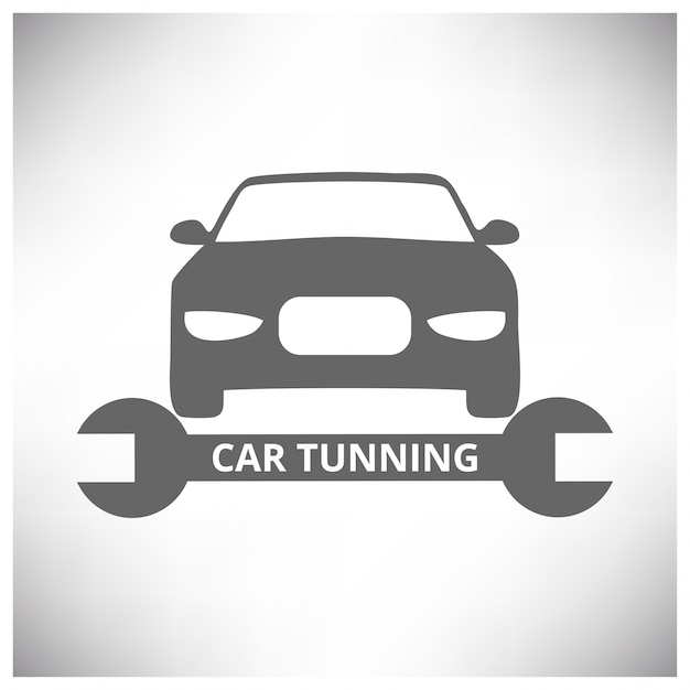 Outils de service de réparation automatique de voiture et fond gris de voiture Vecteur gratuit