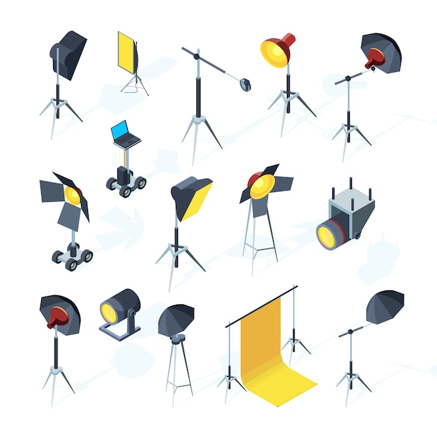 Outils De Studio Photo. Matériel De Production Vidéo Ou Tv Clignotant Et Directionnel Parapluie Léger Softbox Outils Studio Photo Vecteur Premium