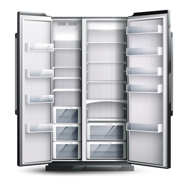 Ouvert réfrigérateur plus large vide Vecteur gratuit