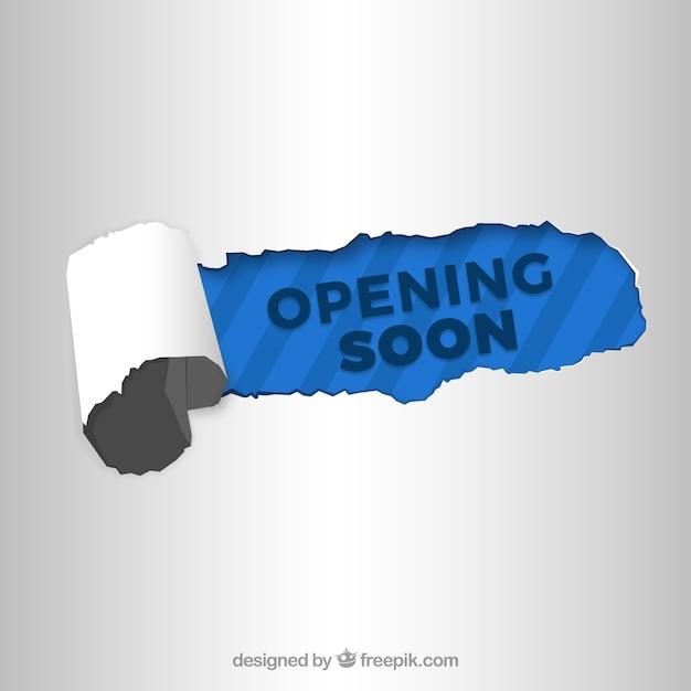 Ouverture bientôt fond avec panneau en papier Vecteur gratuit
