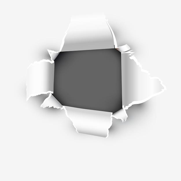 Ouverture montrant un espace dans un papier déchiré Vecteur Premium