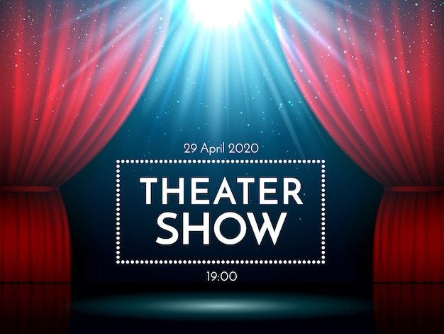Ouvrez les rideaux rouges sur scène éclairés par des projecteurs. théâtre dramatique ou scène d'opéra. Vecteur Premium