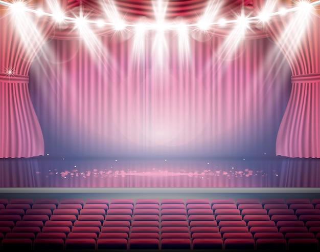 Ouvrez Les Rideaux Rouges Avec Des Sièges Et Des Projecteurs Au Néon. Scène De Théâtre, D'opéra Ou De Cinéma. Lumière Sur Un Plancher. Vecteur Premium