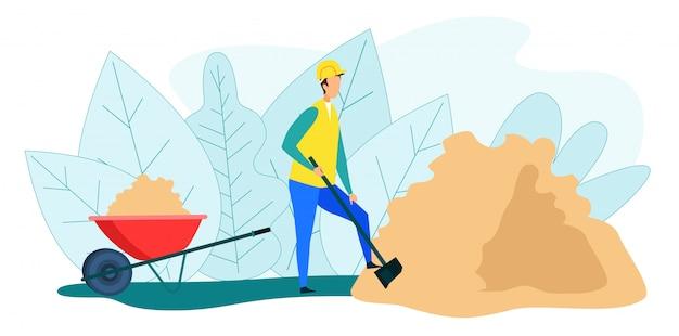 Ouvrier creusant une pile de sable dans une brouette Vecteur Premium