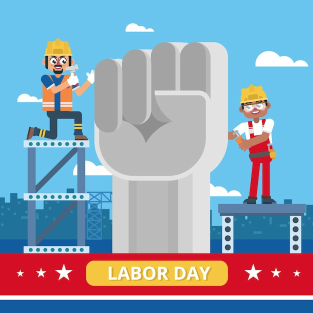 Un ouvrier industriel célèbre la fête du travail avec la statue du poing Vecteur Premium