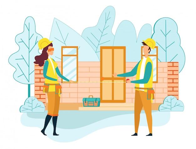 Ouvrier ingénieur construire maison tenir ruban à mesurer Vecteur Premium