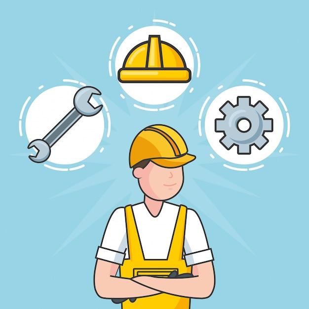 Ouvrier avec des objets de construction, illustration Vecteur gratuit