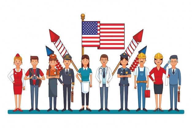 Ouvrier professionnel avec drapeau Vecteur Premium