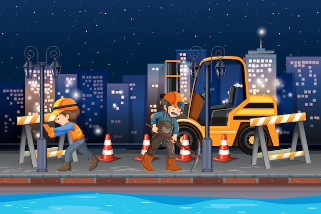 Ouvrier travaillant de nuit Vecteur Premium