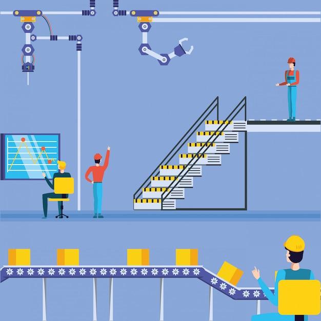 Ouvriers Dans Une Usine Technique Vecteur Premium
