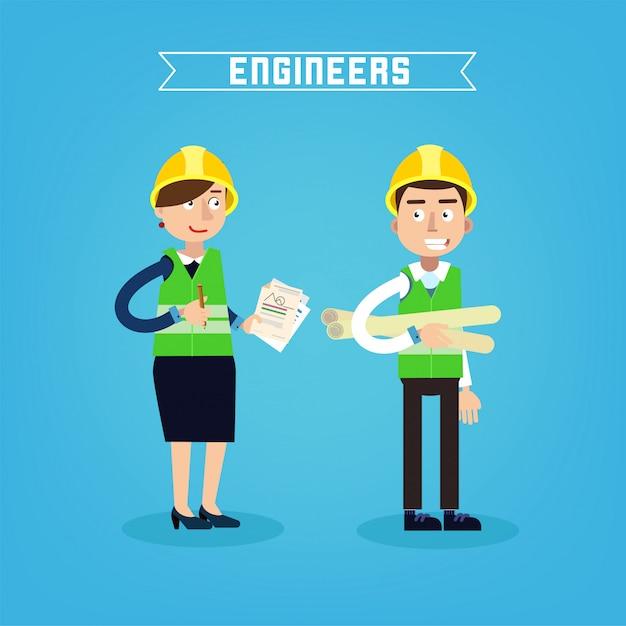 Ouvriers Du Bâtiment. Ingénieur Et Chef De Projet. Ingéniérie De Construction. Illustration Vectorielle Vecteur Premium