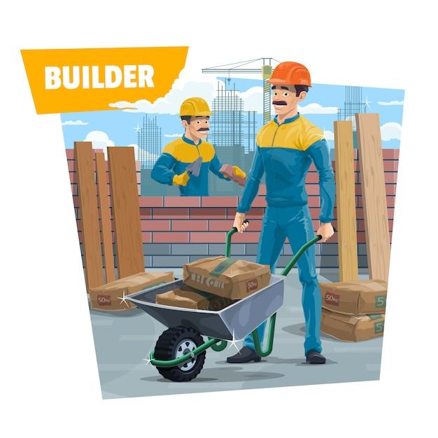 Ouvriers Du Constructeur, Maçon Avec Brouette Vecteur Premium