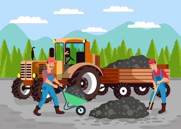 Ouvriers, réparation routière, illustration vectorielle plane Vecteur Premium