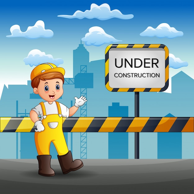 Les ouvriers réparent la route de la ville Vecteur Premium