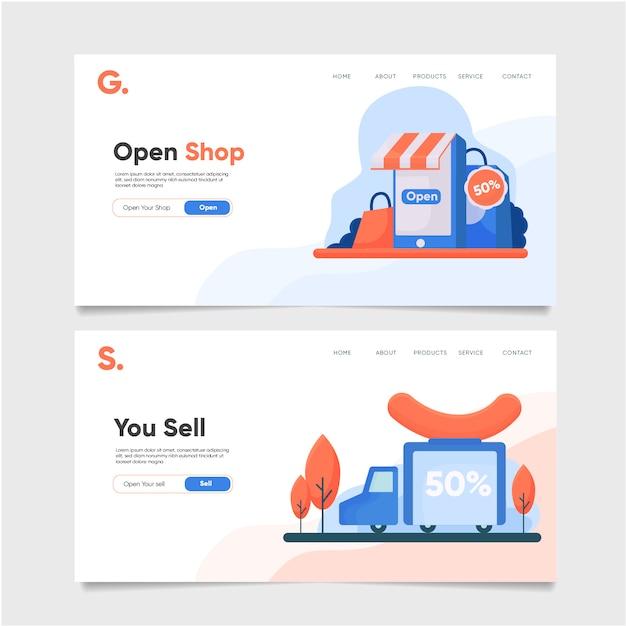 Ouvrir le modèle de page de destination de la boutique Vecteur Premium