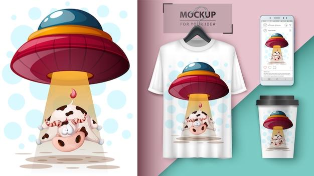 Ovni, vache. conception de t-shirt Vecteur Premium