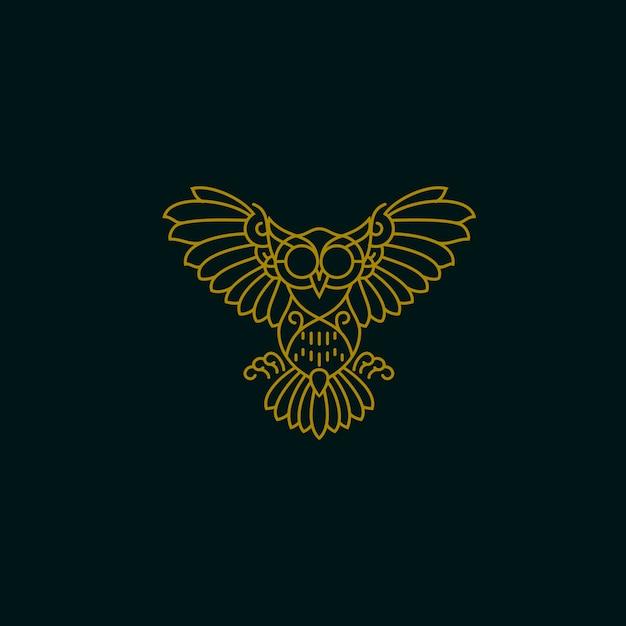 Owl Monoline Design Vecteur Premium