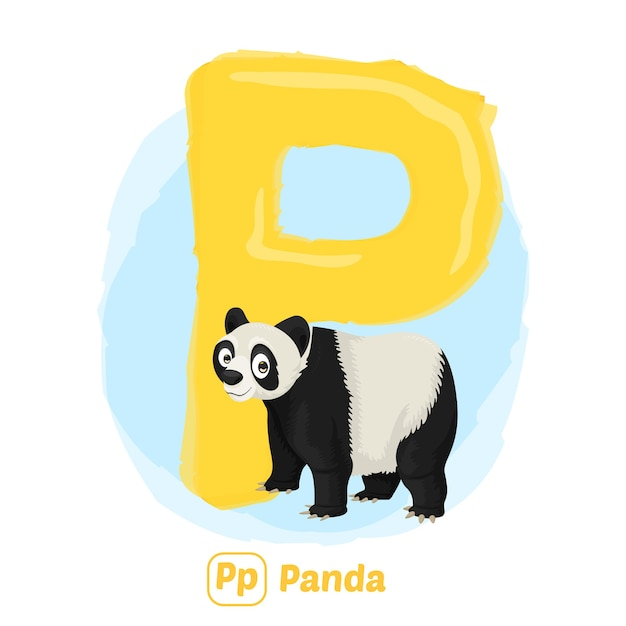 P Pour Panda. Style De Dessin D'illustration Premium D'animal Alphabet Pour L'éducation Vecteur Premium