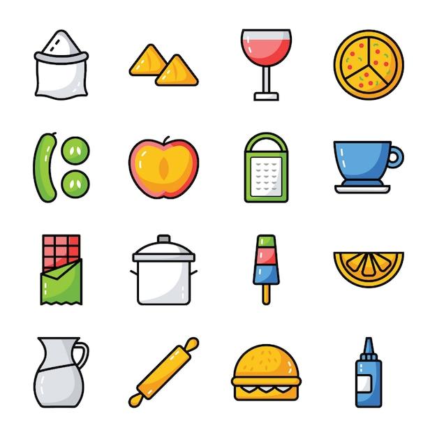 Pack aliments, boissons et ustensiles de cuisine Vecteur Premium