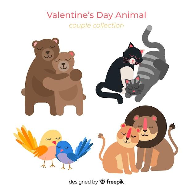 Pack animal couple valentine Vecteur gratuit