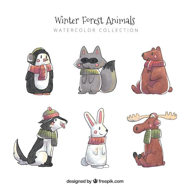 Pack animaux aquarelle Vecteur gratuit