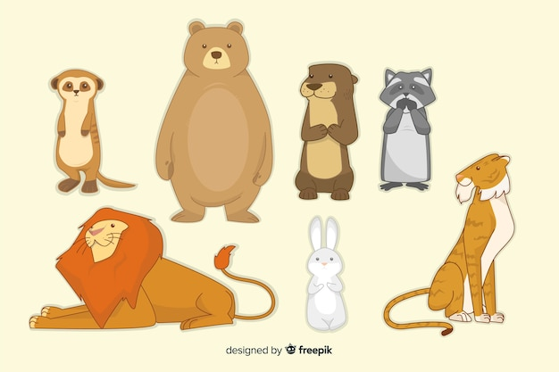 Pack d'animaux coloré dans le style des enfants Vecteur gratuit
