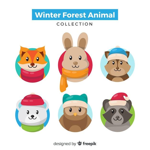 Pack animaux d'hiver Vecteur gratuit