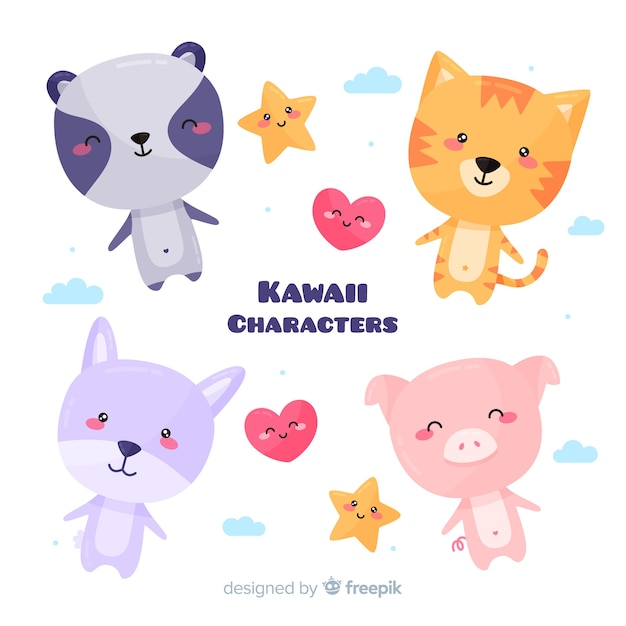 Pack d'animaux kawaii dessinés à la main Vecteur gratuit