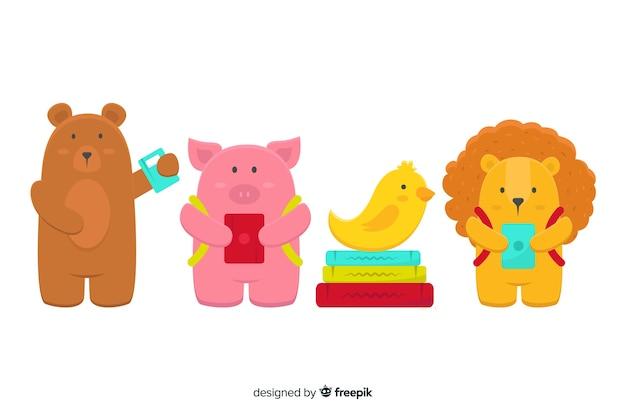 Pack d'animaux mignons illustrés à l'école Vecteur gratuit