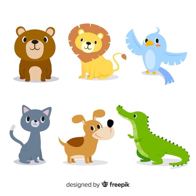 Pack d'animaux mignons illustrés plats Vecteur gratuit