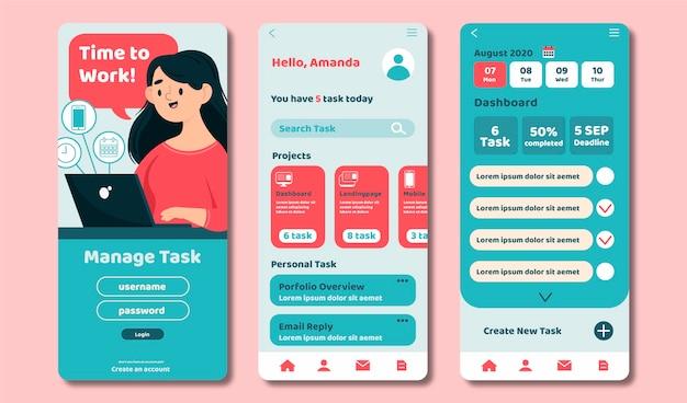 Pack D'applications De Gestion Des Tâches Vecteur gratuit