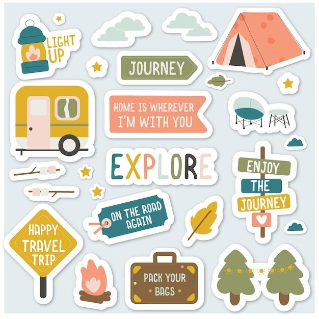 Pack Autocollants De Camping Vecteur Premium