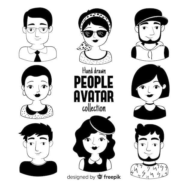 Pack Avatar De Personnes Dessinées à La Main Vecteur gratuit