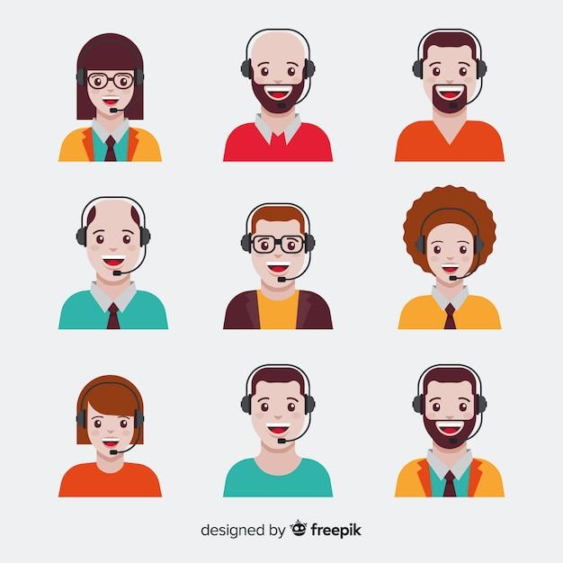 Pack d'avatars de centre d'appels en style plat Vecteur gratuit