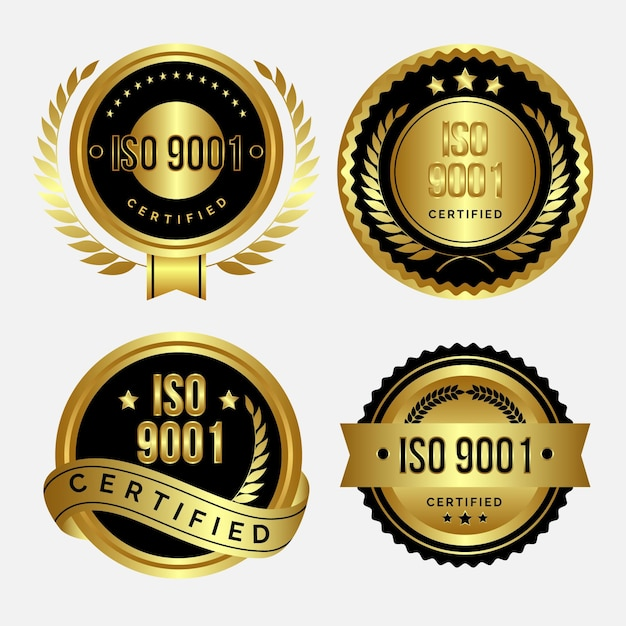 Pack De Badges De Certification Iso Vecteur Premium