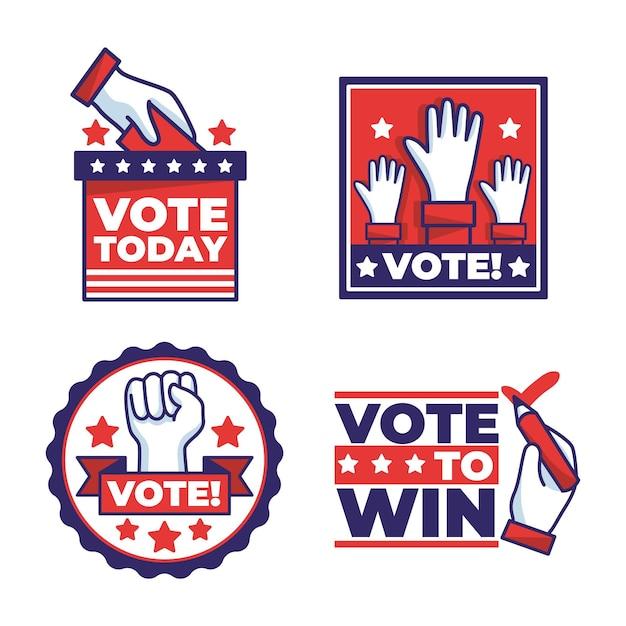 Pack De Badges De Vote Usa Vecteur Premium