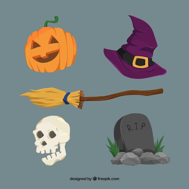 Pack de balai avec d'autres éléments de halloween Vecteur gratuit