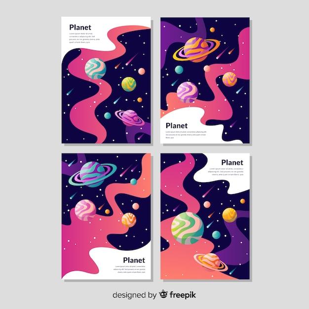 Pack de bannière galaxie dessiné à la main Vecteur gratuit