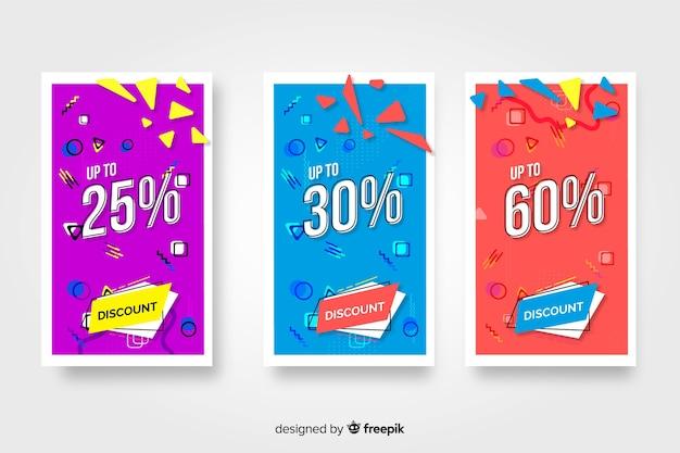 Pack de bannières colorées de vente dans le style de memphis Vecteur gratuit