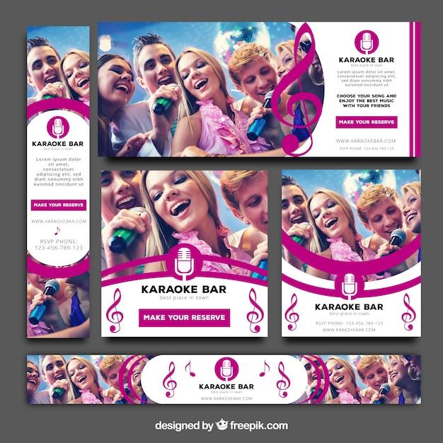 Pack de bannières de karaoké Vecteur gratuit
