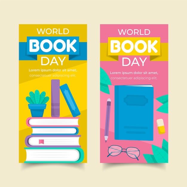 Pack De Bannières Pour La Journée Mondiale Du Livre Vecteur gratuit